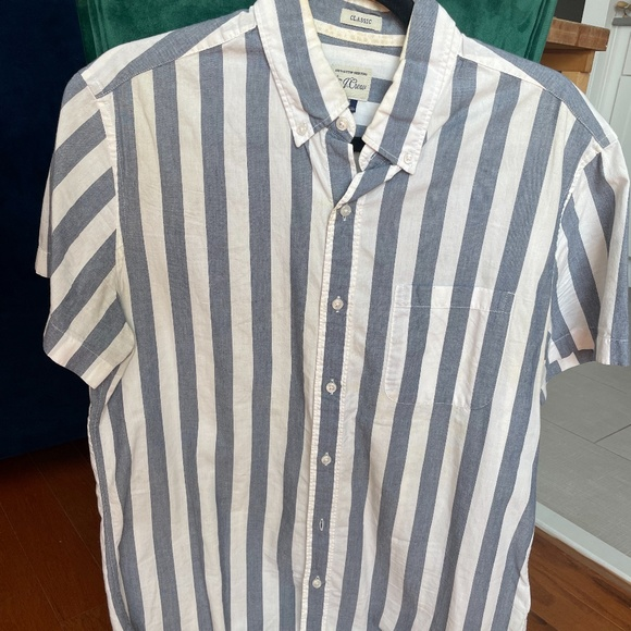 J Crew Striped Short Sleeve Nautical  Button Up
